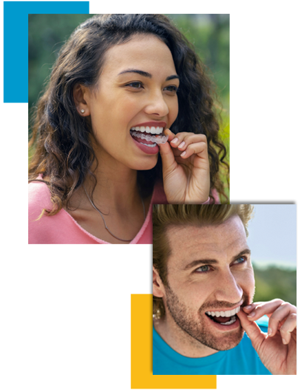 Couple smiling showing their Invisalign Clear Braces being placed in mouth